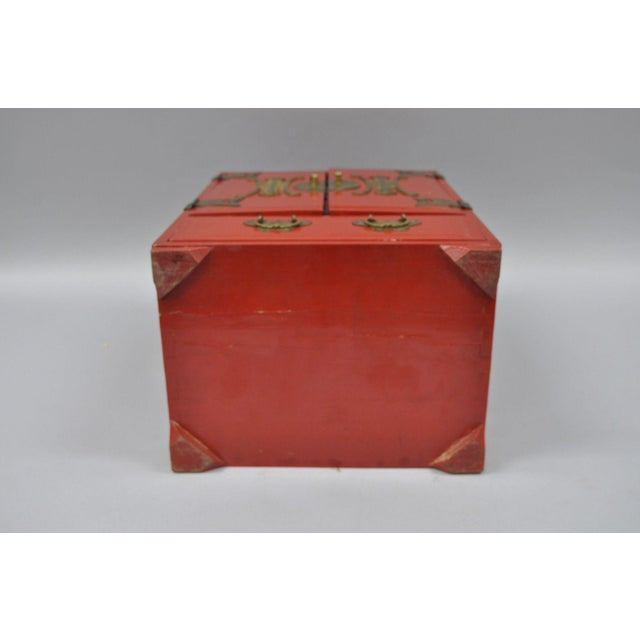 Vintage Red Lacquer Chinese Jewelry Trinket Box For Sale - Image 11 of 13