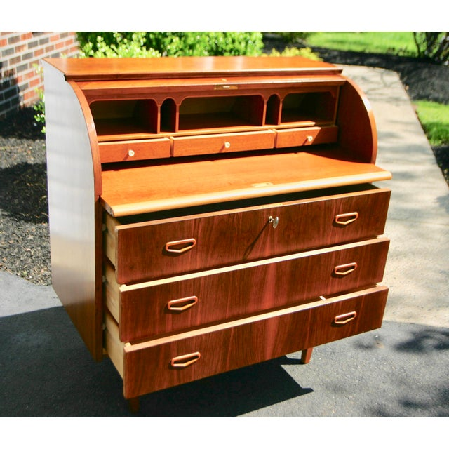 20th Century Danish Modern Rosewood Cylinder Desk For Sale In Philadelphia - Image 6 of 13