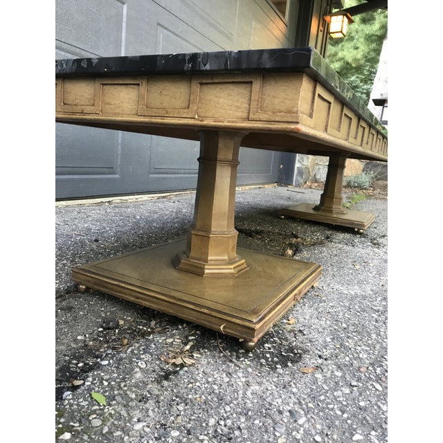 Art Deco Walnut and Marble Coffee Table For Sale - Image 6 of 12