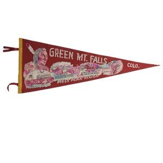 Vintage Green Mt Falls Colo. Felt Flag Pennant