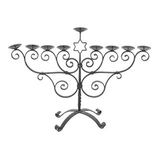 Judaica Modern Wrought Metal Menorah With Scrollwork For Sale