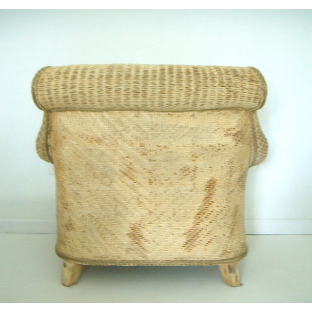 Boho Chic Oversized Wicker Arm Chairs & Ottoman - a Pair For Sale - Image 3 of 8