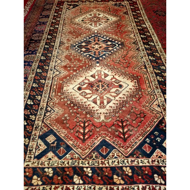 Country 1940s Vintage Persian Shiraz Tribal Carpet - 5′2″ × 10′1″ For Sale - Image 3 of 9