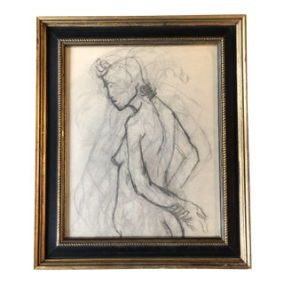 Vintage Mid Century Original Female Nude Charcoal Study For Sale