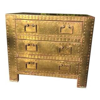 Sarreid Brass Clad Three Drawer Chest of Drawers For Sale