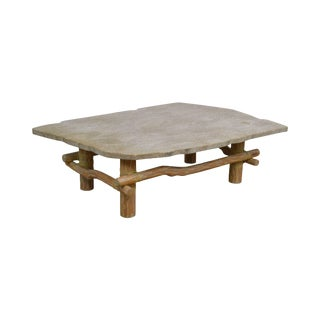 Unusual Faux Branch Large Stone Top Coffee Table For Sale
