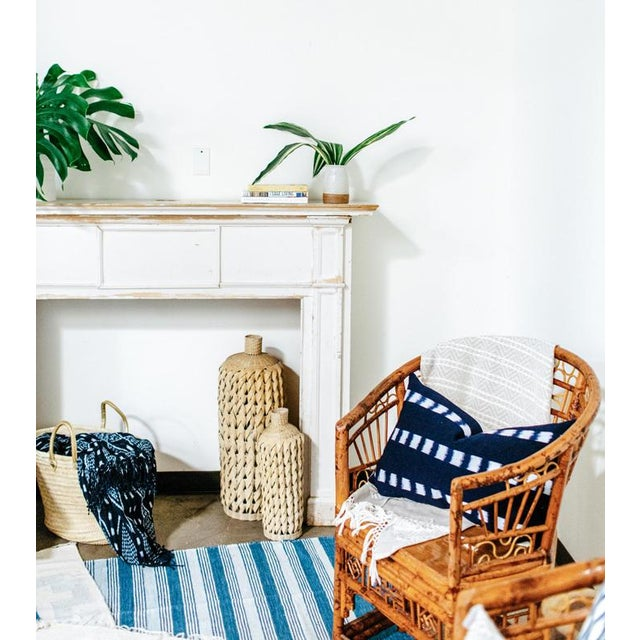 Blue & White Handwoven Striped Rug - 5′ × 8′6″ - Image 4 of 5