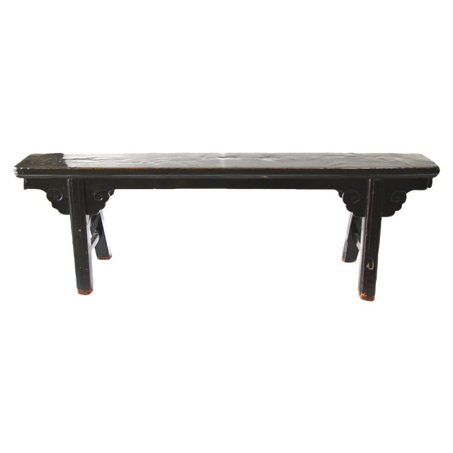 Hand Carved Chinese-Style Black Altar Bench - Image 1 of 8