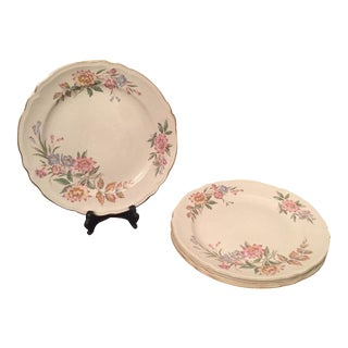 Mid-Century Pink Floral Dining Plates - Set of 4