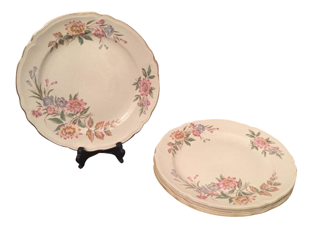Mid Century Pink Floral Dining Plates   Set Of 4 For Sale