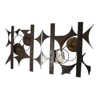 Mid-Century Brutalist Metal Wall Sculptures by Knud Rasmussen - Set of 2 For Sale