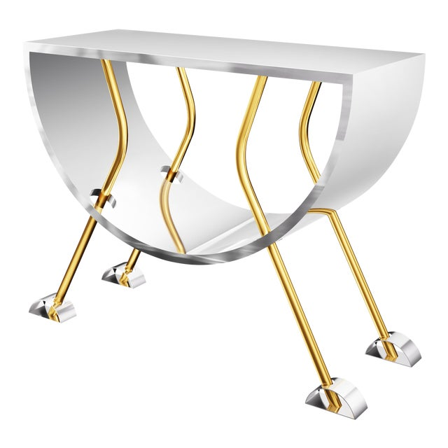 Double D Console in Brass and Stainless Steel by Artist Troy Smith - Limited Edition For Sale