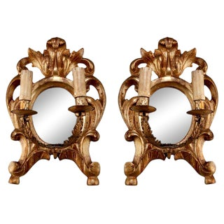 19th Century Carved Gilt Wood 2-Light Mirror Back Sconces - A Pair For Sale