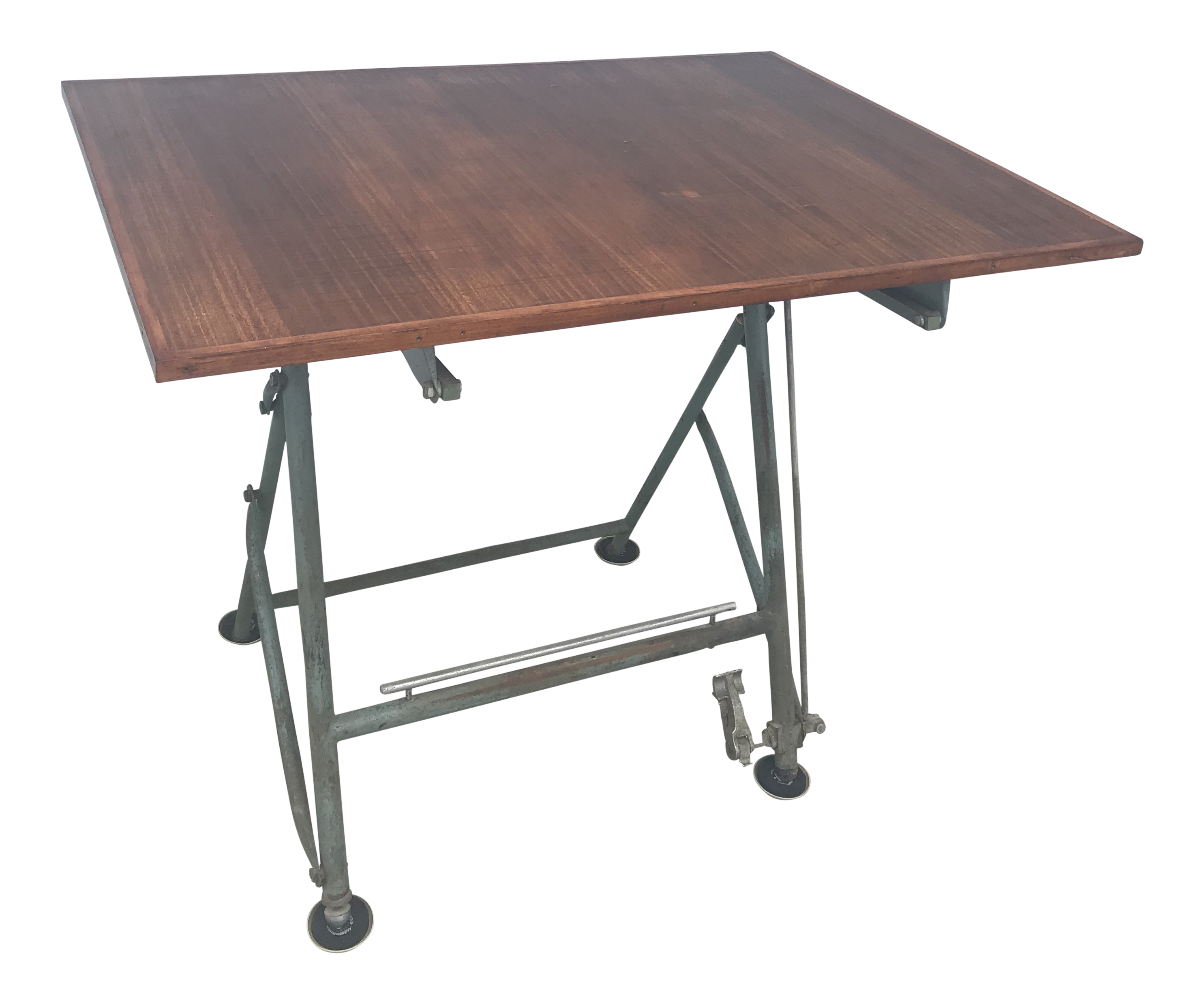 1950 French Unic Studio Iron Counterbalance Drafting Table For Sale