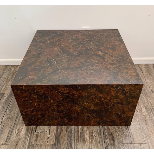 Milo Baughman 1970s Mid-Century Modern Faux Stone Cube Coffee Table For Sale - Image 4 of 6