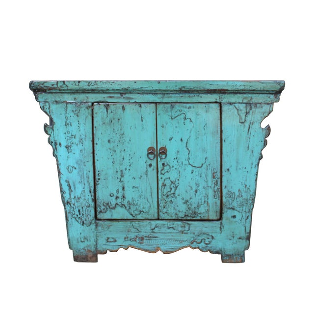 Blue Chinese Rustic Rough Wood Distressed Aqua Blue Side Table Cabinet For Sale - Image 8 of 8