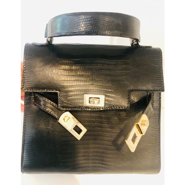 1980s 1980s Petite Lizard Skin Kelly Style Purse For Sale - Image 5 of 12
