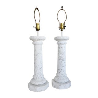 Pair of Faux Coral Stone Lamps For Sale