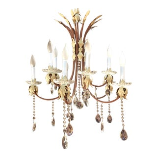 10-Arm Crystal Chandelier For Sale