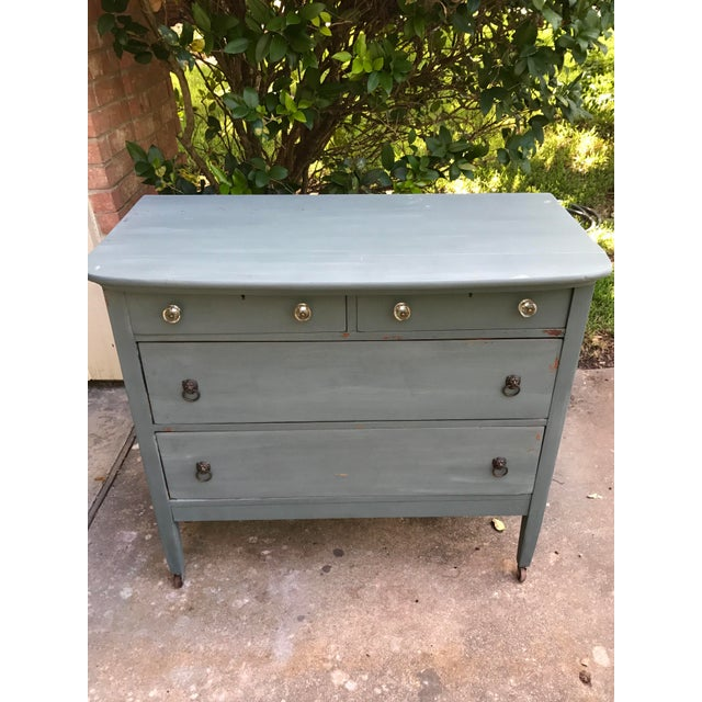 Antique Teal Green Milk Paint Finish Dresser For Sale - Image 5 of 9
