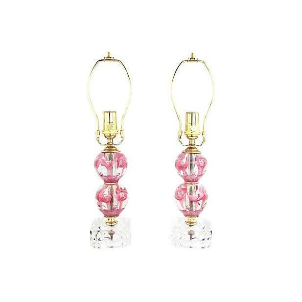 Murano Glass Boudoir Lamps, Pair - Image 2 of 5