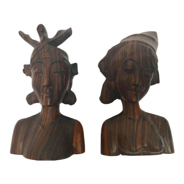 Balinese Hand Carved Wooden Busts Bookends - a Pair For Sale