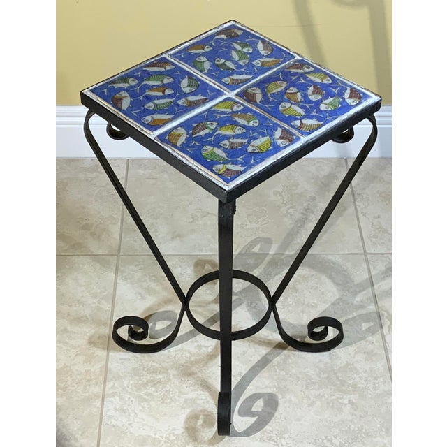 Vintage Persian Tile Side Table For Sale - Image 10 of 13