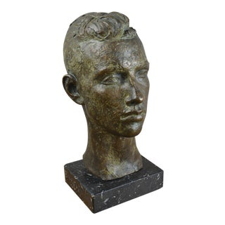 Modernist Bronze Bust of Young Man For Sale