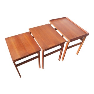 1960s Danish Modern Hvidt & Molgaard Era Solid Teak Nesting Tables - Set of 3 For Sale