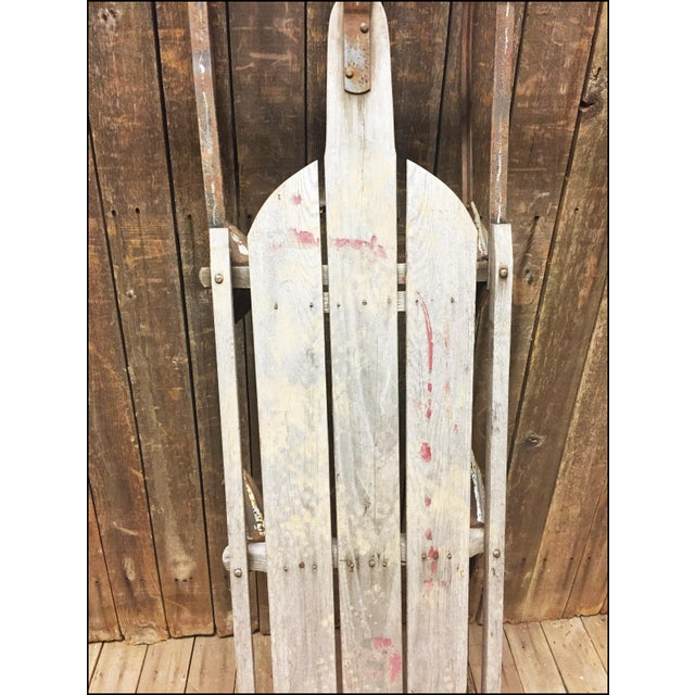Wood Vintage Weathered Wood & Metal Runner Sled -- Lightning Guider For Sale - Image 7 of 11