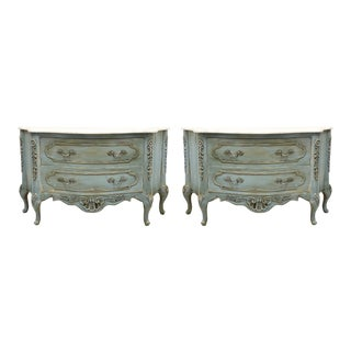 Marble Top French Style Hand Painted Chests - a Pair For Sale