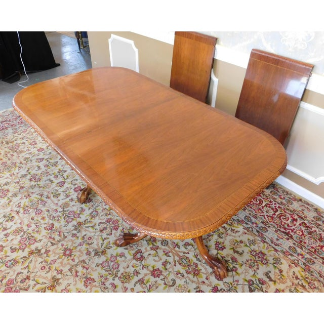 Chippendale Mahogany Banded Dining Room Table - Image 9 of 9