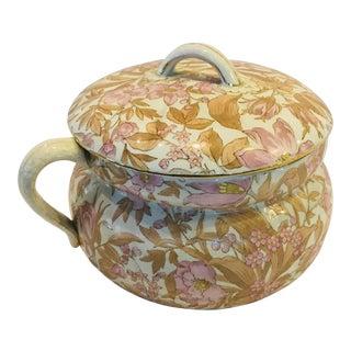 Victorian Floral Porcelain Chamber Pot For Sale