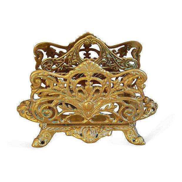 1950s Ornate Brass Letter & Note Desk Organizer - Image 4 of 6