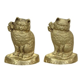 Vintage Pair of Brass Cat Bookends For Sale