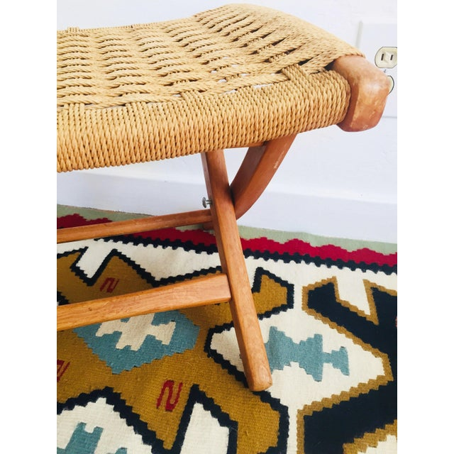 Mid 20th Century Mid Century Hans Wegner Style Folding Rope Stool For Sale - Image 5 of 10