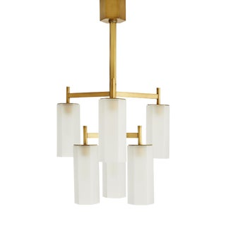 Arteriors Modern Brass and Frosted Glass Geometric Solomon Chandelier For Sale