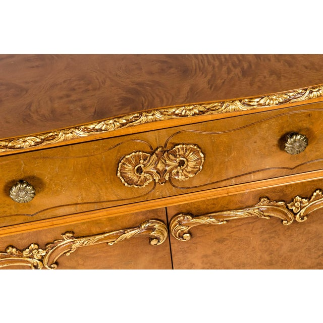 Mid 20th Century 20th Century Burlwood Sideboard with Gold Design Details For Sale - Image 5 of 12