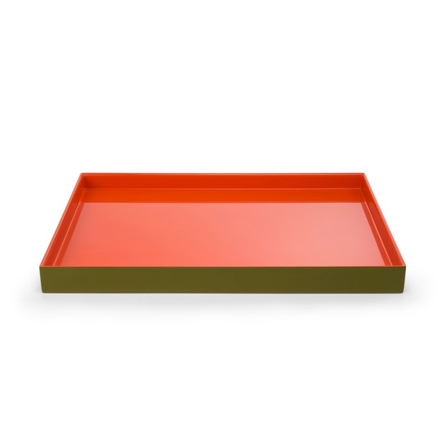 The Lacquer Company Medium Tray in Olive Green / Orange - Pentreath & Hall for The Lacquer Company For Sale - Image 4 of 4