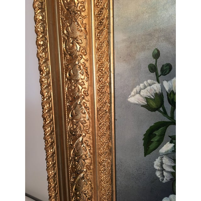 Green Antique Floral Oil Painting For Sale - Image 8 of 11