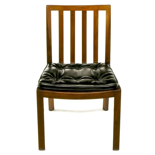 Johnson Furniture Co. Six Bert England Forward Trend Walnut and Leather Dining Chairs For Sale - Image 4 of 11