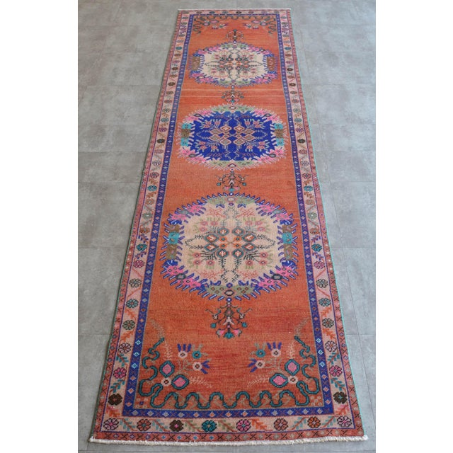 """Boho Chic Oushak Runner Rug Turkish Hand Knotted Distressed Hallway Rug - 3'1"""" X 12'7"""" For Sale - Image 3 of 9"""