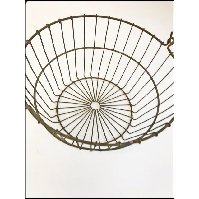 Vintage Rustic Wire Metal Egg Basket With Handle For Sale - Image 9 of 10
