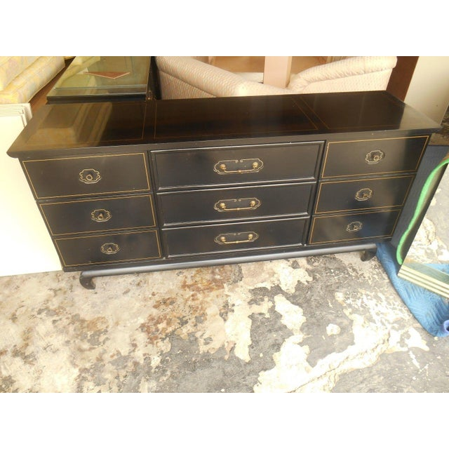 American of Martinsville Black Lacquer Dresser - Image 3 of 8