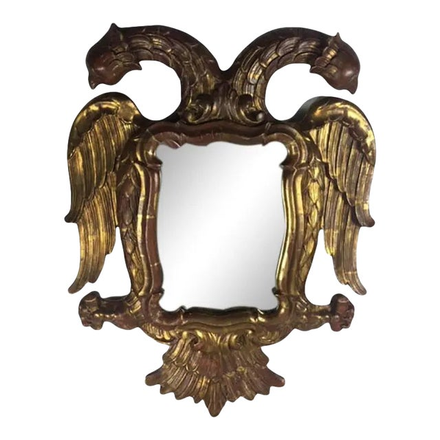 Late 19th Century Carved Giltwood Two-Headed-Eagle Wall Mirror For Sale