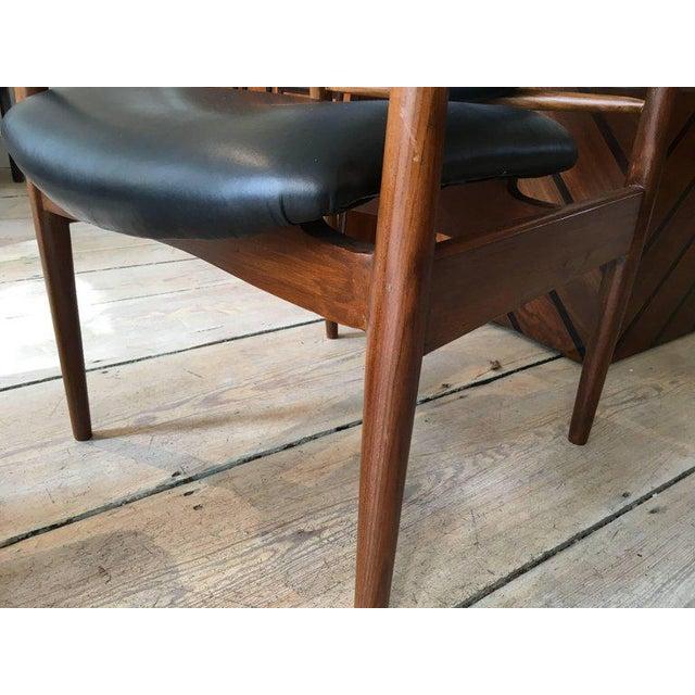 Black 1950s Finn Juhl, Danish Mid-Century Modern Teak and Leather Armchair For Sale - Image 8 of 10