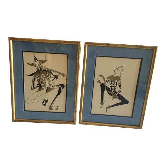 Hollywood Regency Harlequin/Jesters Signed Drawings - a Pair For Sale