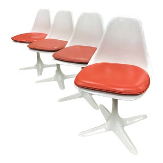 White Mid Century Saarinen Style Tulip Chairs - Set of 4 For Sale