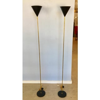 1960s Brass and Black Enamel Torchieres by Caccia Dominioni - a Pair Preview