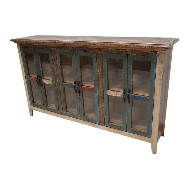 Rustic Multi-Color Wood Credenza Buffet